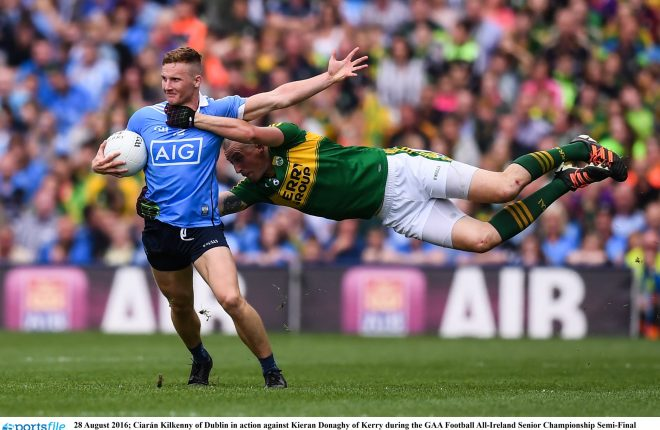 28 August 2016; Ciarán Kilkenny of Dublin in action against Kieran Donaghy of Kerry during the GAA Football All-Ireland Senior Championship Semi-Final match between Dublin and Kerry at Croke Park in Dublin. Photo by Stephen McCarthy/Sportsfile