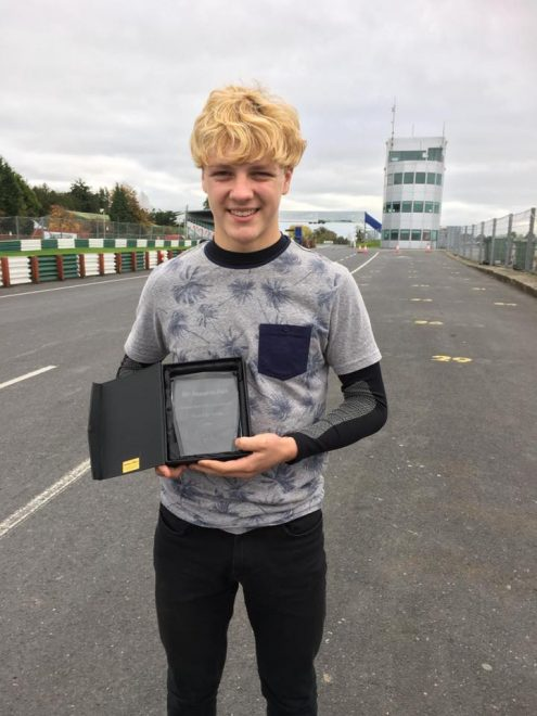Rhys Irwin with his Irish Young Rider of the Year finalist award at Mondello Park.