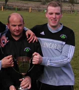 Glencar Celtic's Junior Russell (left) with Garvan Grieve.