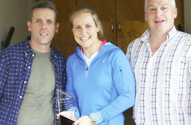 Karen Guthrie, Donegal News Sports Personality of he Month for May 2016 with Liam Porter and Harry Walsh, Donegal News.