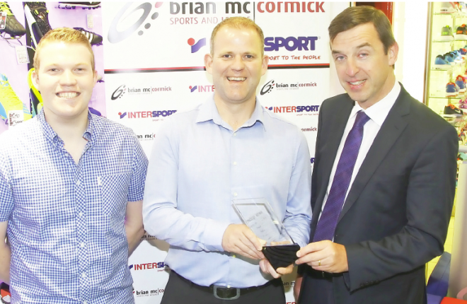 Rally driver Manus Kelly, Donegal News Sports Person of the Month for June, sponsored by Brian McCormick Sports, included are Ryan Ferry, Donegal News, and Brian McCormick.