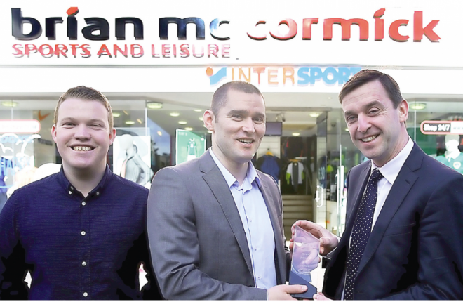 Brian McCormick of Brian McCormick Sports and Leisure, and Ryan Ferry, Donegal News, present the Donegal News Sports Personality of the Month award for February to Darren McElwaine, Letterkenny Rovers.