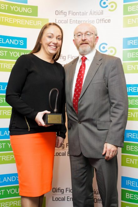 Gillian Doyle who won the Regional Final of Ireland's Best Young Entrepreneur, pictured with Head of Enterprise in Donegal, Michael Tunney after she received her prize.