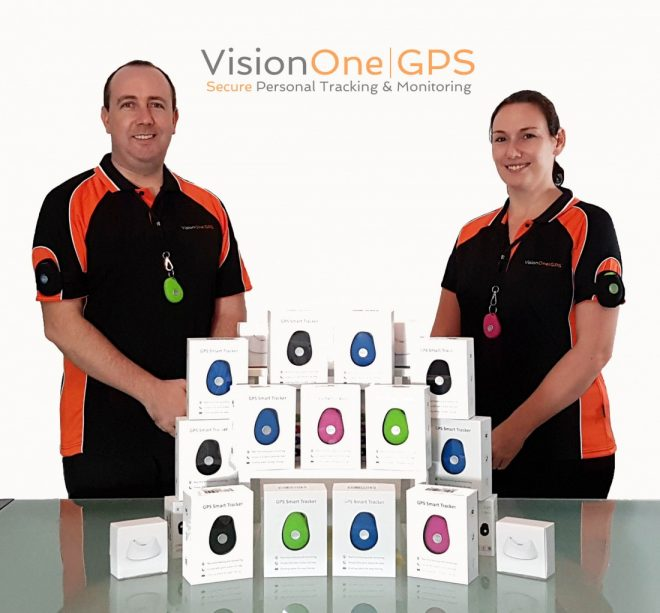 Owen and Michelle McGarvey with their GPS Smart tracker product
