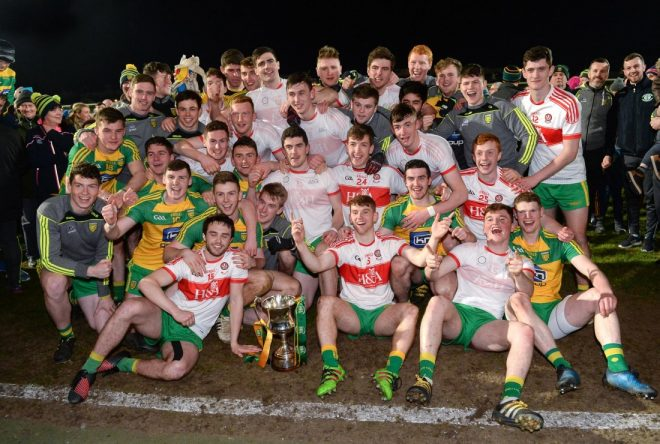 The Donegal players celebrate with the cup after the EirGrid Ulster GAA Football U21 Championship Final.